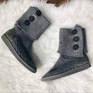 Ugg • Gray Knit Tall Cardy Convertible Boots